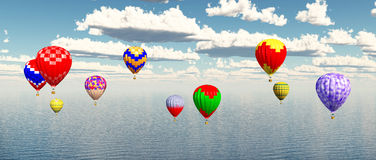 Hot air balloons over ocean. Computer generated 3D illustration with hot air balloons over ocean Stock Images