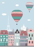 Hot air balloons over the Paris. Vector Stock Image
