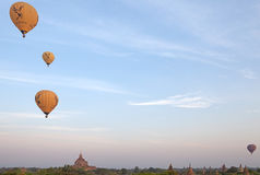 Hot air balloons over the ruins of Bagan, Myanmar Stock Images