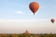 Hot air balloons over the ruins of Bagan, Myanmar Royalty Free Stock Photography