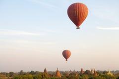 Hot air balloons over the ruins of Bagan, Myanmar Stock Photos