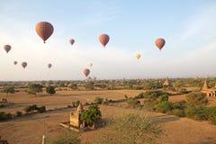 Hot air balloons over the ruins of Bagan, Myanmar Stock Photo