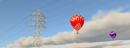 Hot air balloons and overhead power line Royalty Free Stock Image