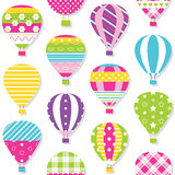 Hot air balloons pattern. Illustration of colorful hot air balloons collection on white background Royalty Free Stock Photography