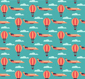 Hot air balloons and planes pattern royalty free illustration