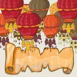 Hot air balloons postcard Royalty Free Stock Photography