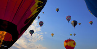 Hot air balloons race Stock Photo