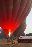 Hot Air Balloon Launch - Bagan - Myanmar (Burma) Royalty Free Stock Photos