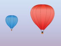 Hot air balloons red blue Stock Image