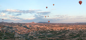Hot air balloons rise over Cappadocia, Turkey Stock Photo