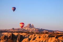 Hot air balloons rising at cappadocia Royalty Free Stock Photography