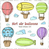 Hot Air Balloons set. Vintage illustration for identity, design, decoration, packages product and interior decorating Stock Image