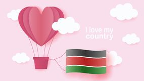Hot air balloons in shape of heart flying in clouds with national flag of Kenya. Paper art and cut, origami style with love to stock illustration