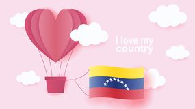Hot air balloons in shape of heart flying in clouds with national flag of Venezuela. Paper art and cut, origami style with love to stock illustration