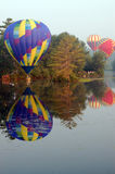 Hot air balloons skimming Stock Photo