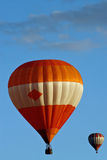Hot air balloons on sky. Before landing Stock Photo