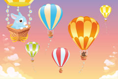 Hot air balloons in the sky with bunny. Royalty Free Stock Photography
