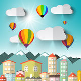 Hot Air Balloons on Sky with City Royalty Free Stock Photography