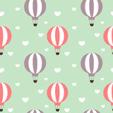 Hot air balloons in the sky with hearts seamless pattern background illustration Royalty Free Stock Image