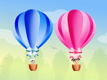 Hot air balloons in the sky. Illustration of hot air balloons in the sky Stock Photography