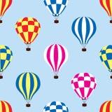 Hot air balloons in the sky, vector. Seamless pattern of hot air balloons in the sky, vector Stock Photos