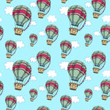 Hot air balloons in the sky. Seamless travel pattern. Stock Photography