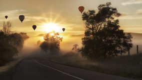 Hot Air Balloons on the Sky during Sunset Time Stock Images