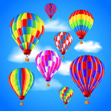 Hot air balloons in the sky vector background Royalty Free Stock Photo