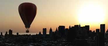 Hot air balloons. And skyscraper Royalty Free Stock Image