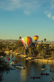 Hot Air Balloons soar over Lake Havasu Arizona Royalty Free Stock Images