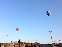 Hot air balloons on a sunny day Stock Photography