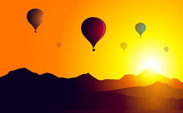 Hot Air Balloons Sunset on Mountain-Vector Royalty Free Stock Photo