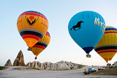 Hot air balloons take off in Goreme, Cappadocia, Turkey Royalty Free Stock Image