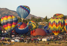 Hot Air Balloons Take Off. The Race is on in Reno NV Stock Photo