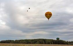 Hot air balloons takeoff. Makariv, Ukraine. Stock Photos