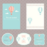 Hot Air Balloons Theme Wedding Stationary. Set Royalty Free Stock Images