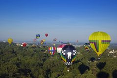 Hot Air Balloons at Treetop. Hot air balloons flying above the treetops in Natchez, MS Stock Photo