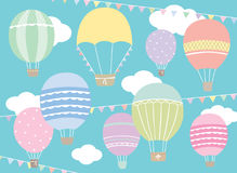 Hot Air Balloons. Vector illustration of hot air balloon set in pastel colors Stock Photography