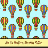 Hot air balloons vector pattern Stock Images