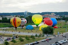 Hot air balloons in the Vilnius city center Stock Image