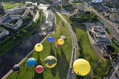Hot air balloons in Vilnius. City center on August 11, 2016 in Vilnius, Lithuania. Vilnius is one of few cities where hot air ballooning over the city is Stock Photography