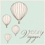 Hot air balloons. Vintage hot air balloons bon voyage background Royalty Free Stock Photography