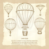 Hot air balloons vintage poster design Royalty Free Stock Images