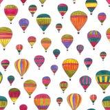 Hot air balloons watercolor hand drawn seamless pattern Royalty Free Stock Photo