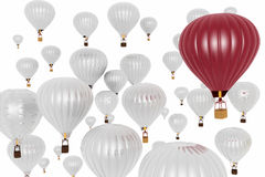 Hot air balloons on a white Royalty Free Stock Photography