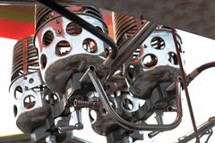 Hot air ballooon engine controls jets Royalty Free Stock Photography
