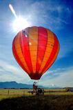 Hot air baloon. Pilot preparing for fly with hot air baloon stock photography