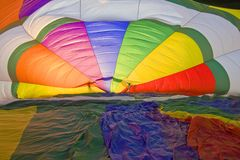 Hot air baloon in Amboise - France. Inside a baloon - time to inflate to fly stock photography