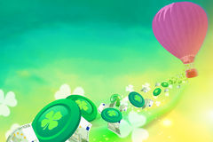 Hot air baloon with casino chips, clovers and baloons flying from Royalty Free Stock Image
