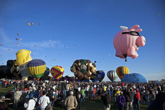 Hot Air Baloon Fiesta in Albuquerque. New Mexico. Crowd of the visitors observing the ascending baloons Stock Images